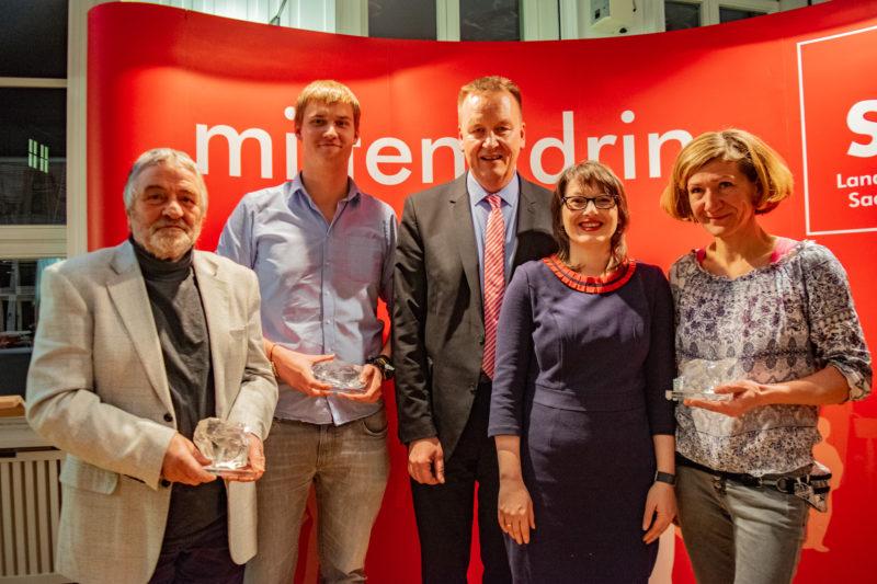 Preisträger Reinhard-Höppner-Engagementpreis 2018: v. l. n. r.: Rainer Krause, Till Gaßmann, Burkhard Lischka, Katja Pähle und Gerit Möhrke